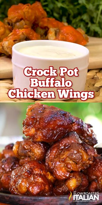 Crock Pot Buffalo Wings are so tender they will melt in your mouth. The caramelized buffalo sauce is truly enough to make your taste buds sing! Made in the slow cooker you won't find an easier recipe! They just about cook themselves. #BuffaloWings #Crockpot