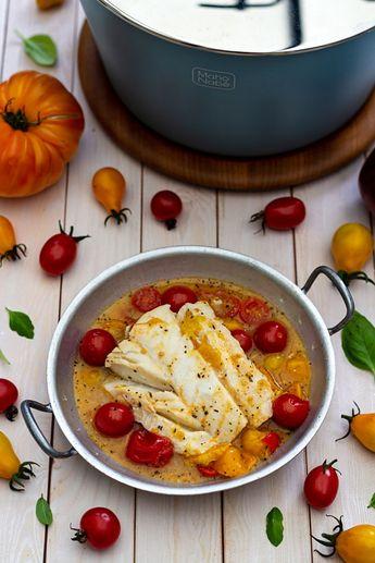Cabillaud au vin blanc et tomates cerises