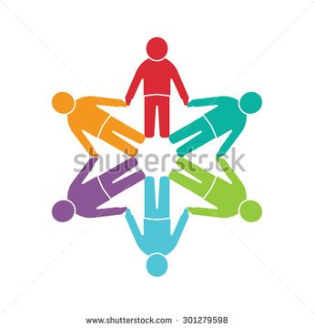 People logo. Group of six persons in a circle