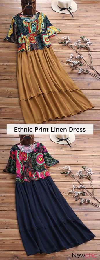 Bohemian Ethnic Print Patch Short Sleeve Linen Dress.