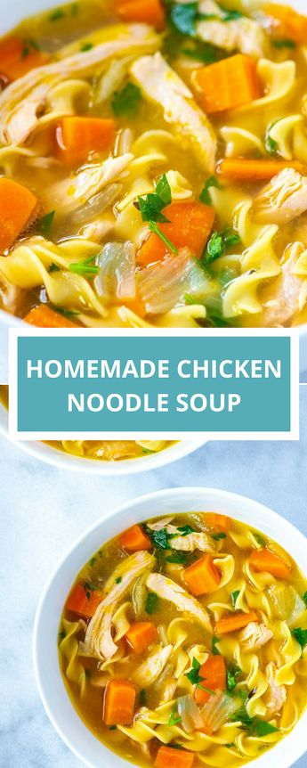 This easy homemade chicken noodle soup recipe is healthy, satisfying, and tastes incredible. It's faster to make than the traditional version, too! By swapping whole chicken with chicken thighs, you can make this soup from scratch in under 40 minutes!