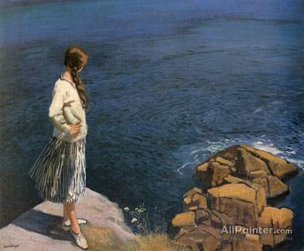 Dame Laura Knight At The Edge Of The Cliff Oil Painting Reproductions