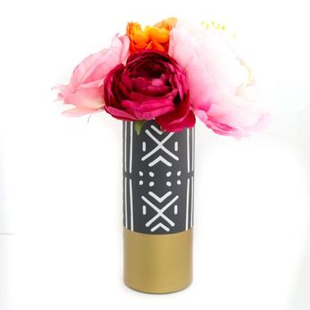 Mud Cloth Pattern Wrapped Glass Flower Vase with Matte Gold Base