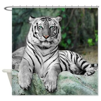 White Tiger Shower Curtain by Daecu