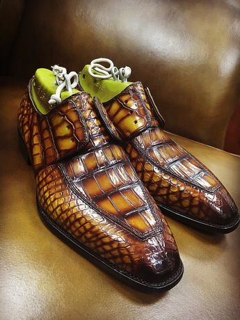 Casual Alligator Shoes, Luxury Alligator Slip-On Loafers for Men