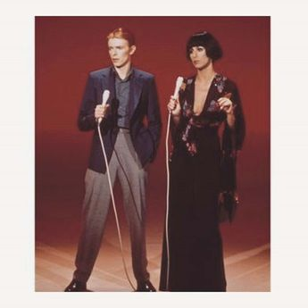 david bowie and cher photographed in 1975 on cher s tv pro