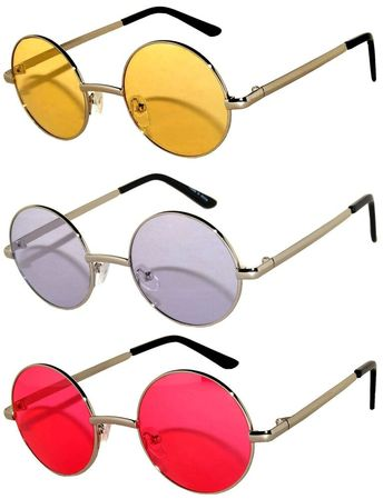 c3699c0308 Round Retro Vintage Sunglasses Silver Metal Frame Spring Hinge Yellow  Purple Red  affilink  vintagesunglasses