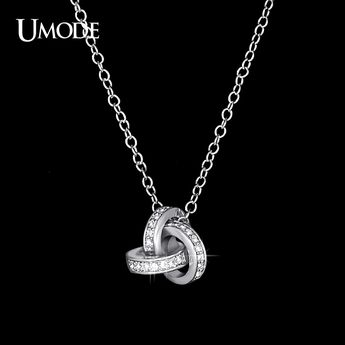 Bijoux White Gold Plated Twist Knot Pendant Necklace For Girl Full CZ Necklaces & Pendants Women Jewelry AUN0103