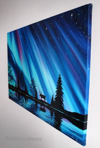 Aurora borealis art Northern lights Norway Landscape painting on canvas Iceland art Northern lights Large wall art