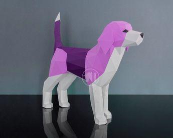 Beagle Dog Papercraft Template Printable PDF Beagle Puppy | Etsy
