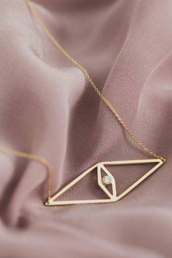 Evil Eye Necklace - Gold Vermeil Evil Eye Necklace, Rose Gold Evil Eye Necklace, Layering Necklace,