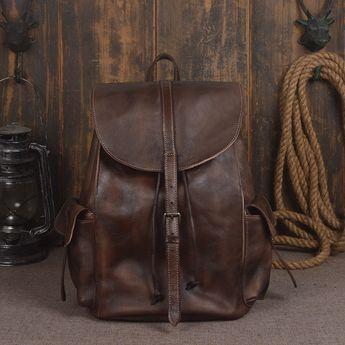 ... Handmade Genuine Leather Backpack Travel Backpack School Backpack in  Coffee 9017 - Coffee best loved 9d9e0 ... 71cd0f812b