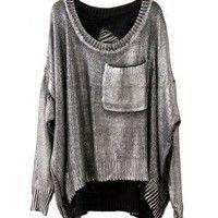 Retro Silver Print Pocket Sweater