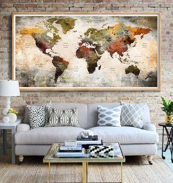 World Map Push Pin Poster Print World Map Wall Art World Map Home Decoration World Map Wall Decor World Map Push Pin Wall Art (L104)