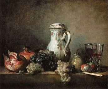 Still Life With Grapes And Pomegranates by Jean-Baptiste Simeon Chardin