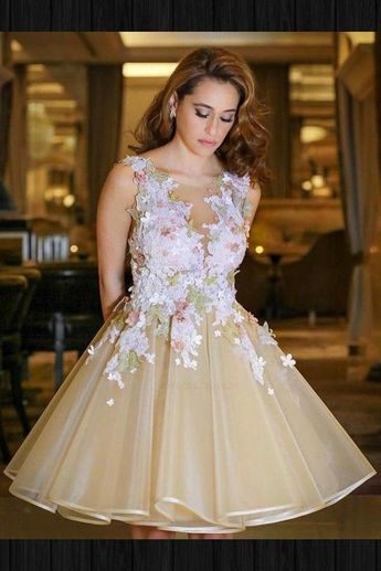 Luxurious Appliques Homecoming Dresses, Homecoming Dresses Sexy, Homecoming Dresses Short, V Neck Homecoming Dresses