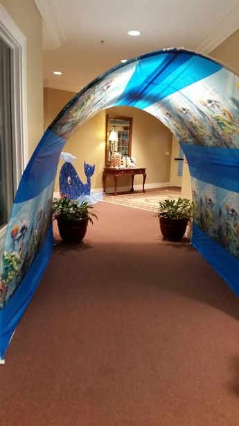 Entry arch made from PVC pipe and dollar tree tablecloths