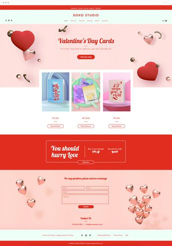 Capture your customers' hearts with this lovely and charming Valentine's Day store template. Highlight your products in each collection and easily add your own text and images to make it your own. Simply click edit to start spreading the love!