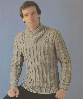 376970994 Knit mens shawl collared sweater patterned front with long sleeves pullover  jumper tunic vintage pattern instant