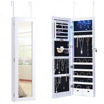 Costway Door Mounted Mirrored Jewelry Cabinet Armoire Organizer Lockable w/ 2 Drawers, White #whitejewelryarmoirethedoors