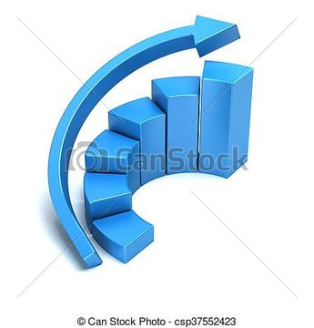 Business growth curved bars and arrow graph. 3D rendering illustration - csp37552423