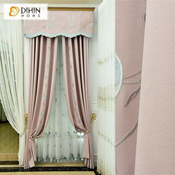DIHIN HOME Cute Birds and Flowers Embroidered,Blackout Curtains Grommet Window Curtain for Living Room ,52x84-inch,1 Panel