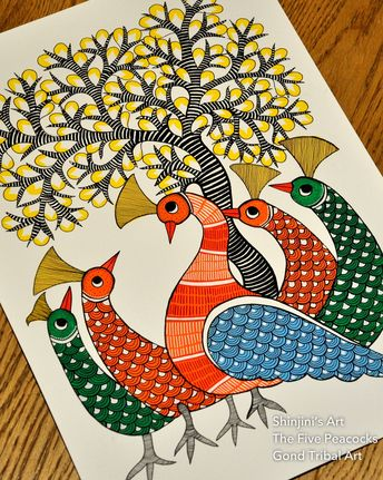 The Five Peacocks Gond Indian Tribal Art Size A3 Black ink and water colours To order or purchase please send me a pm or whatsapp me on…