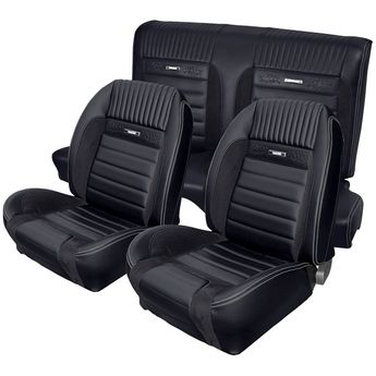 Deluxe Pony Sport R Upholstery for 1964 1/2 - 1966 Mustang Coupe w/Bucket Seats Front/Rear - Big Dog Auto Interiors