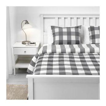 IKEA EMMIE RUTA Dark Gray, White Duvet cover and pillowcase(s)