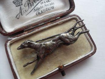 Antique silver greyhound whippet dog brooch
