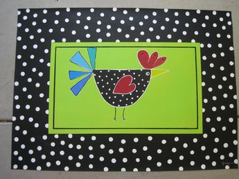 Floor cloth. Chicken by Ginny Riggle. Would look cute in the kitchen on the floor or wall
