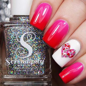 Pink and Red Ombre Valentine's Day Nails