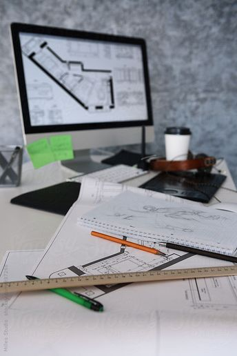 Architect Office. Blueprint, computer and no people