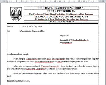 Contoh Surat Permohonan Dispensasi Kerja Doylc Asia