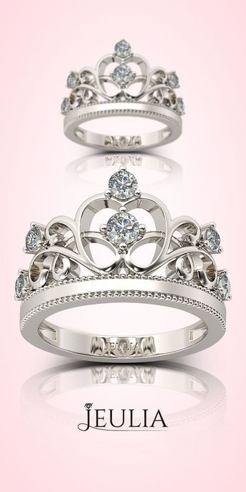 Bijoux – Tendance 2017/2018 : #jeulia #jewelry-ad Crown Round Cut Created White Sapphire Promise Ring