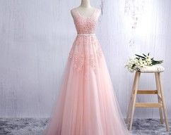 Pink V Neck Tulle Prom Dress, Open Back A Line Formal Gown With Lace Appliques 2018