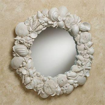 Seashell Melange Round Coastal Wall Mirror