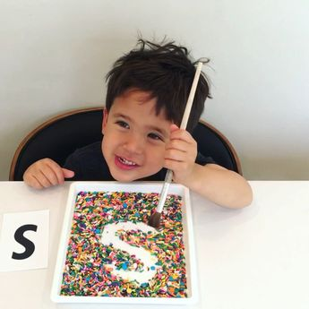 Letter Writing in Sprinkles Tray * ages 3-5