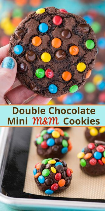 These double chocolate chip M&M cookies are easy to make, only 20 minutes from start to finish. Plus no chilling of the dough! These m&m cookies are chocolate-y, chewy & soft and loaded with m&ms and chocolate chips. #chocolatemmcookies #doublechocolatecookies #mmcookies