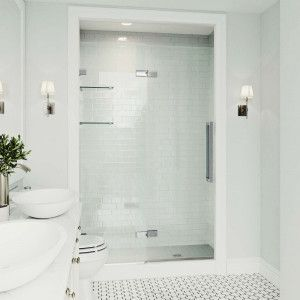VIGO Powell 47-1/4 to 48-3/4 in. x 74 in. Frameless Hinged Shower Door in Chrome with Clear Glass and Handle-VG6082CHCL4874