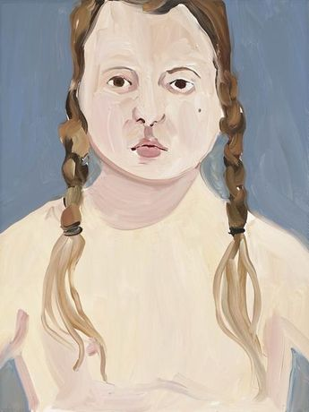 Chantal Joffe BELLA WITH PLAITS 2016 Oil on board 24 x 18 x 1 inches 61 x 45.7 x 2.5 centimeters