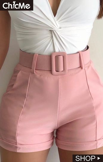 Solid High Waist Casual Shorts