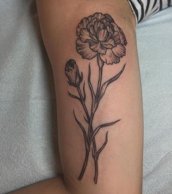 55799bdc7 Carnation and Daisy Tattoo by Leah Samuels