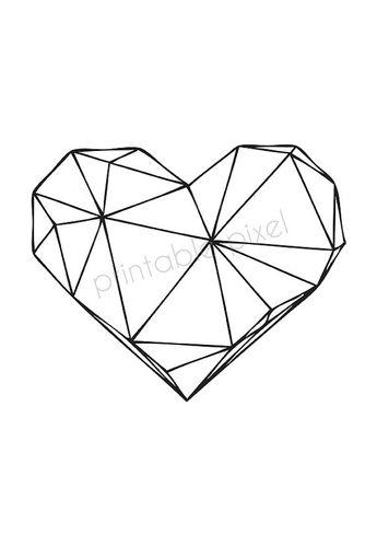 "Black on White Heart, Geometric Art Scandinavian design Poster, Wall decoration, Minimalist Art XXL Poster 70x100, 24x36"", 50x70, A4"