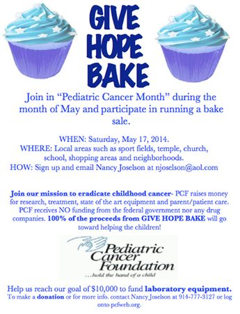 Looking for bakers, #Westchester! We are looking for bakers of all ages for this year's #GiveHopeBake during the month of May. Join us in the fight to eradicate #pediatriccancer. If you are interested in baking, please contact us at njoselson@aol.com. Thank you!