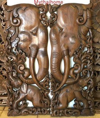 "2 x 3Ft 35"" Brown Gold Pair Teak Wood Carve Carved Elephant Wall Decor Thai Art Bed Headboard Panel"