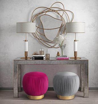 TOV Furniture Tulip Velvet Ottoman in Grey