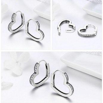925 Sterling Silver Heart Shaped Clear CZ Hoop Earrings