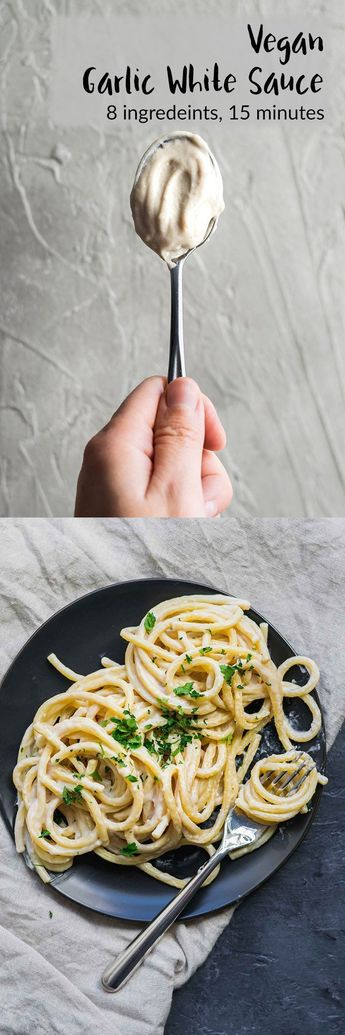 Vegan Garlic White Sauce   A creamy white sauce that's perfect as a base on pizza, as a sauce for pasta, or a dressing for a bowl-style meal, and more! A cashew cream and roux-based vegan sauce. With gluten free and nut free options.   thecuriouschickpea.com #vegan #vegansauce #garlicsauce