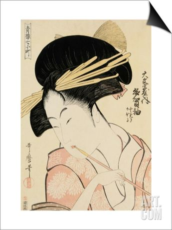 A Half-Length Portrait of the Courtesan Shirotama of the Tamaya SwitchArt™ Print by Kitagawa Utamaro at Art.com